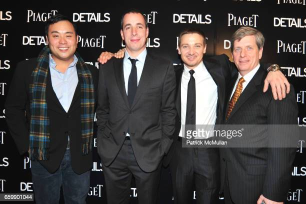 David Chang Dan Peres Jeremy Renner and Larry Boland attend PIAGET Men to Watch at Lehmann Maupin Gallery on December 1 2009 in New York City