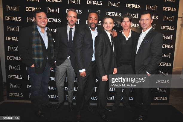 David Chang Michael Bastian Lee Daniels Jeremy Renner Nick Roldan and Jeffrey Donovan attend PIAGET Men to Watch at Lehmann Maupin Gallery on...