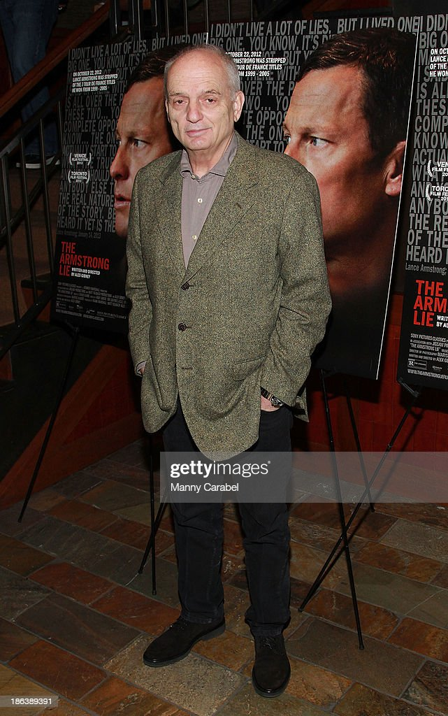 <a gi-track='captionPersonalityLinkClicked' href=/galleries/search?phrase=David+Chase&family=editorial&specificpeople=657831 ng-click='$event.stopPropagation()'>David Chase</a> attends 'The Armstrong Lie' premiere at the Tribeca Grand Hotel on October 30, 2013 in New York City.