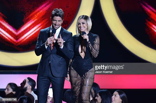 David Chocarro and Aracely Arambula onstage at Telemundo's Premios Tu Mundo 'Your World' Awards at American Airlines Arena on August 25 2016 in Miami...