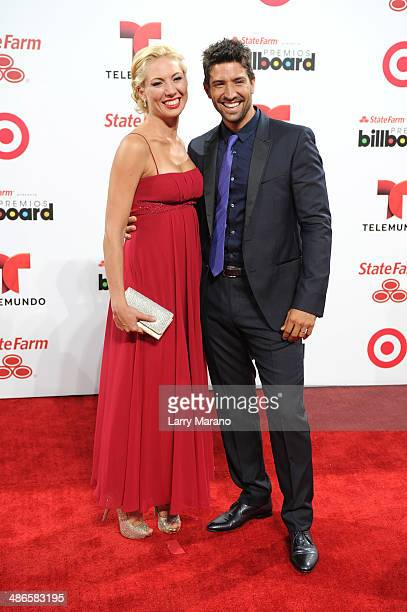 David Chocarro and wife attends the 2014 Billboard Latin Music Awards at Bank United Center on April 24 2014 in Miami Florida