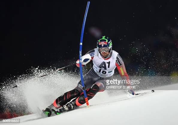 David Chodounsky from USA competes during the FIS Alpine Ski World Cup Men's nightrace Slalom first race on January 26 in Schladming Austria / AFP /...