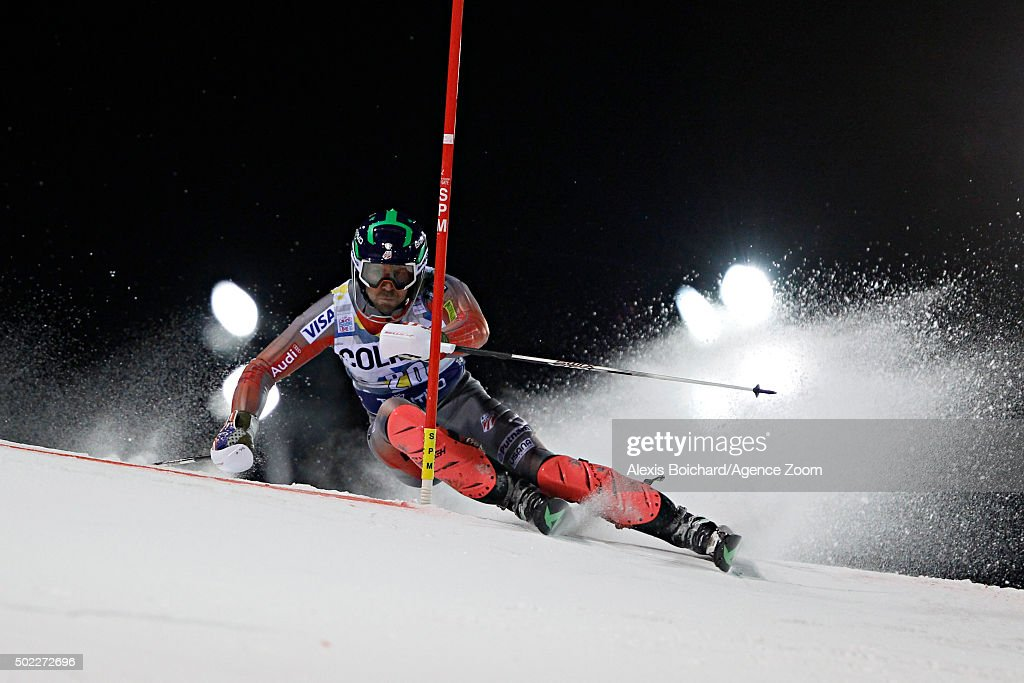 <a gi-track='captionPersonalityLinkClicked' href=/galleries/search?phrase=David+Chodounsky&family=editorial&specificpeople=7425099 ng-click='$event.stopPropagation()'>David Chodounsky</a> of the USA competes during the Audi FIS Alpine Ski World Cup Men's Slalom on December 22, 2015 in Madonna di Campiglio, Italy.