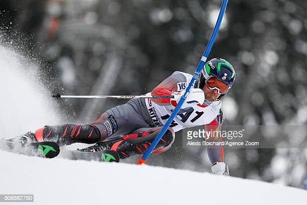 David Chodounsky of the USA competes during the Audi FIS Alpine Ski World Cup Men's Slalom on January 24 2016 in Kitzbuehel Austria