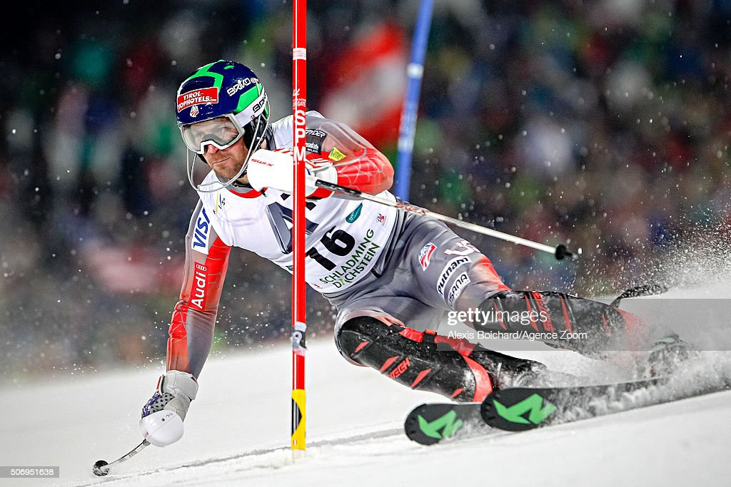 <a gi-track='captionPersonalityLinkClicked' href=/galleries/search?phrase=David+Chodounsky&family=editorial&specificpeople=7425099 ng-click='$event.stopPropagation()'>David Chodounsky</a> of the USA competes during the Audi FIS Alpine Ski World Cup Men's Slalom on January 26, 2016 in Schladming, Austria.