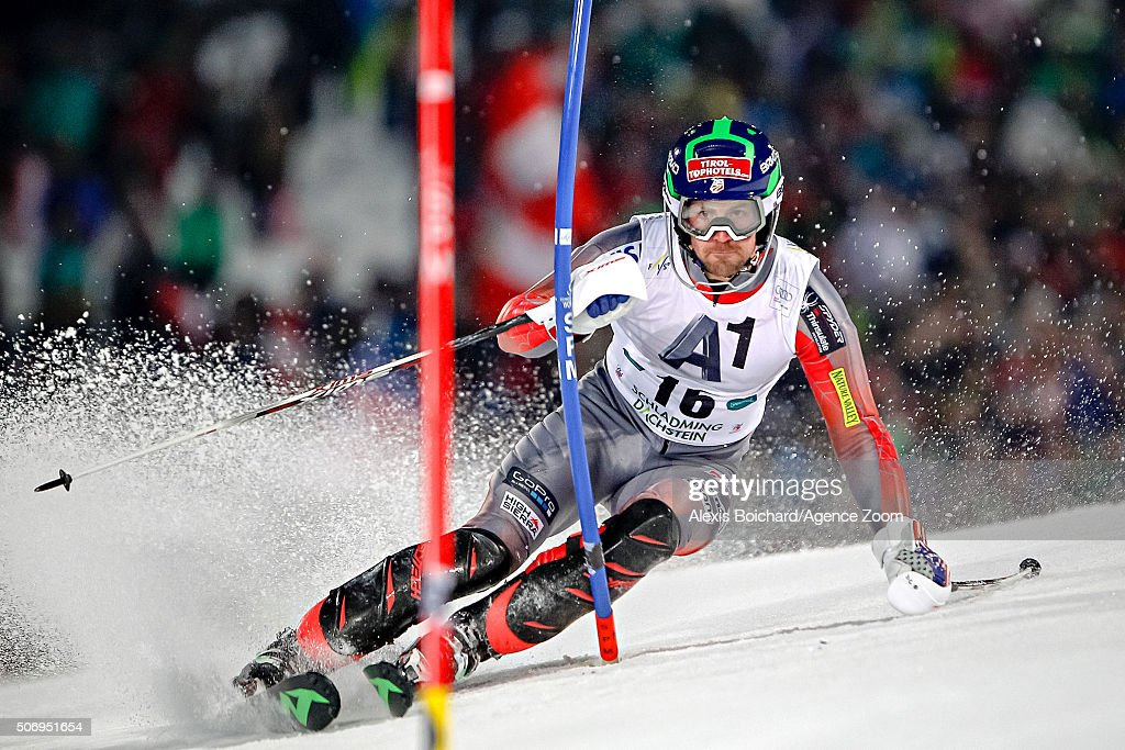 David Chodounsky of the USA competes during the Audi FIS Alpine Ski World Cup Men's Slalom on January 26 2016 in Schladming Austria
