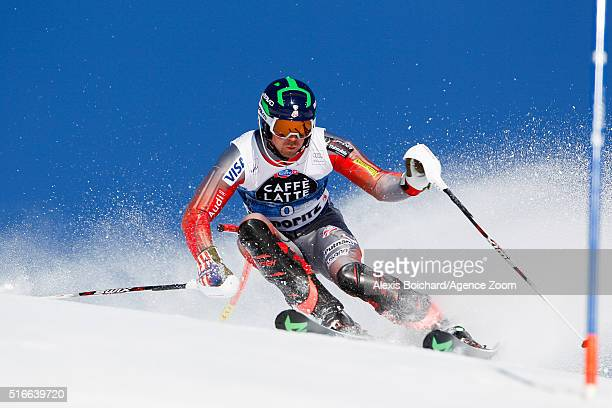 David Chodounsky of the USA competes during the Audi FIS Alpine Ski World Cup Finals Men's Slalom and Women's Giant Slalom on March 20 2016 in St...