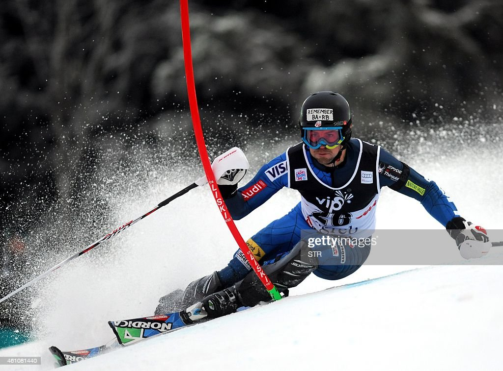 <a gi-track='captionPersonalityLinkClicked' href=/galleries/search?phrase=David+Chodounsky&family=editorial&specificpeople=7425099 ng-click='$event.stopPropagation()'>David Chodounsky</a> of USA clears a gate on January 6, 2015 during the first race of the men's World Cup slalom race in Sljeme.