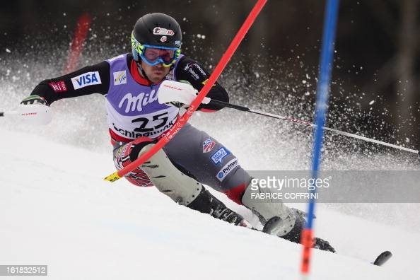 US David Chodounsky skis during the first run of the men's slalom at the 2013 Ski World Championships in Schladming Austria on February 17 2013 AFP...