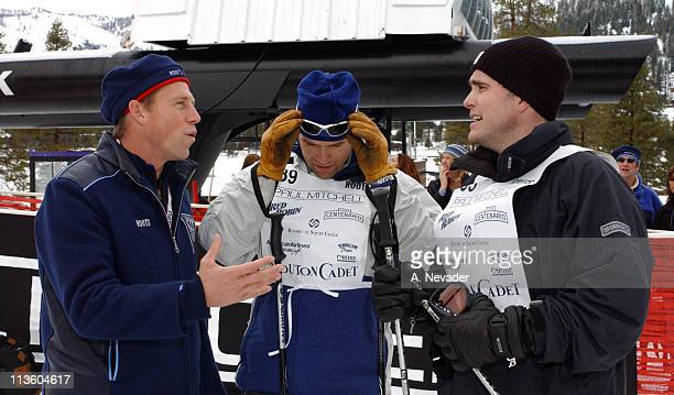 David Chokachi and Matt Dillon being interviewed during 2003 Celebrity Sports Invitational Ski Event in Squaw Valley at Resort at Squaw Creek in Lake...