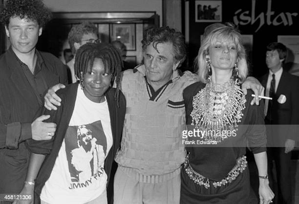 David Claessen and wife Whoppi Goldberg Peter Falk and wife Shera Danese attend the movie premiere of 'Ishtar' on May 13 1987 in Century City...