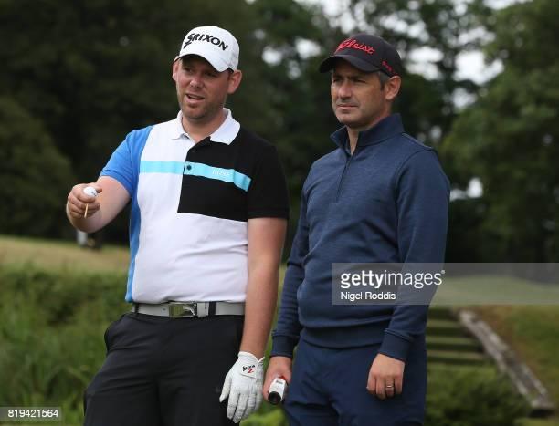 David Clark of Morpeth Golf Club and Martyn Jobling of Morpeth Golf Club during the Golfbreakscom PGA Fourball Championship North Qualifier at...