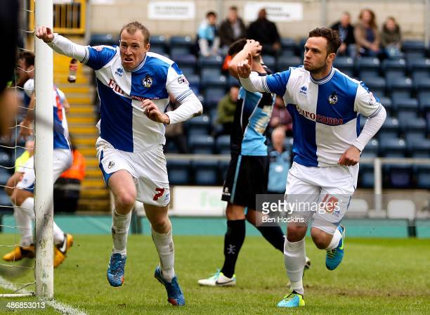 David Clarkson of Bristol celebrates scoring his team's second goal of the game during the Sky Bet League Two match between Wycombe Wanderers and...
