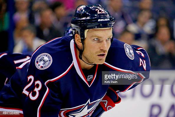 David Clarkson of the Columbus Blue Jackets lines up for a faceoff during the game against the Toronto Maple Leafs on October 16 2015 at Nationwide...