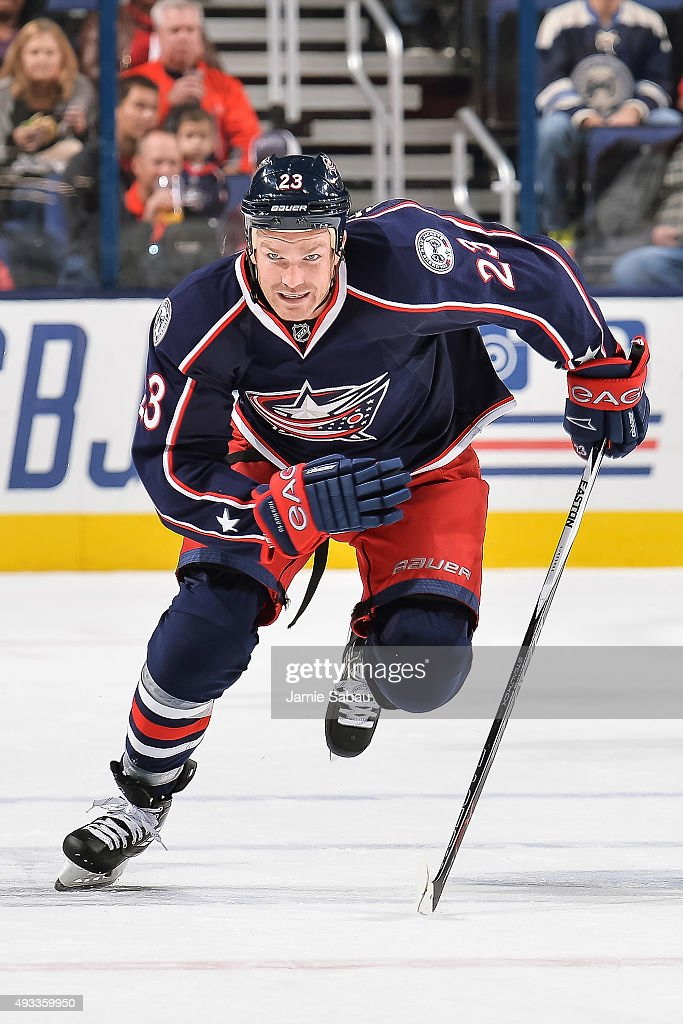 David Clarkson #23 of the Columbus Blue Jackets skates against the Toronto Maple Leafs on October 16, 2015 at Nationwide Arena in Columbus, Ohio.