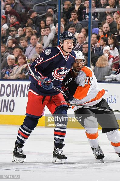 David Clarkson of the Columbus Blue Jackets skates against the Philadelphia Flyers on December 19 2015 at Nationwide Arena in Columbus Ohio