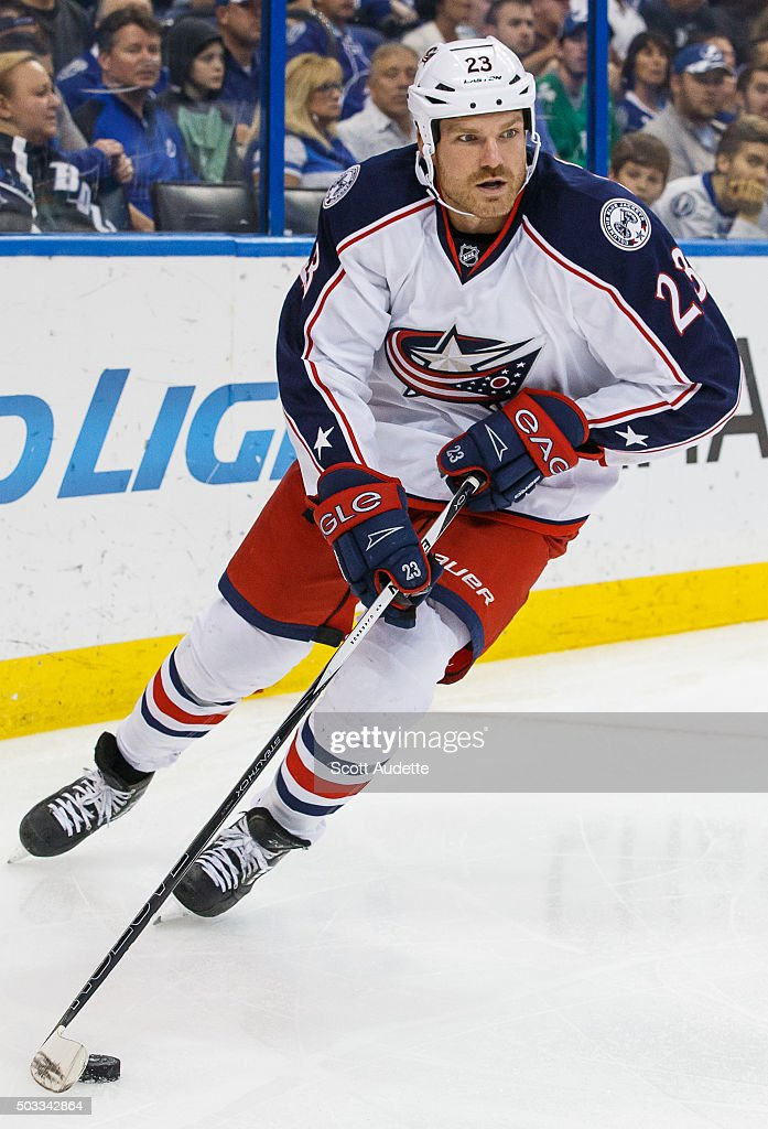 David Clarkson of the Columbus Blue Jackets skates against the Tampa Bay Lightning at the Amalie Arena on December 26 2015 in Tampa Florida