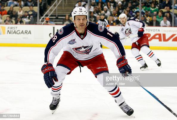 David Clarkson of the Columbus Blue Jackets skates against the Pittsburgh Penguins during the game at Consol Energy Center on March 1 2015 in...