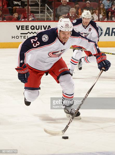 David Clarkson of the Columbus Blue Jackets skates with the puck against the Arizona Coyotes at Gila River Arena on December 17 2015 in Glendale...