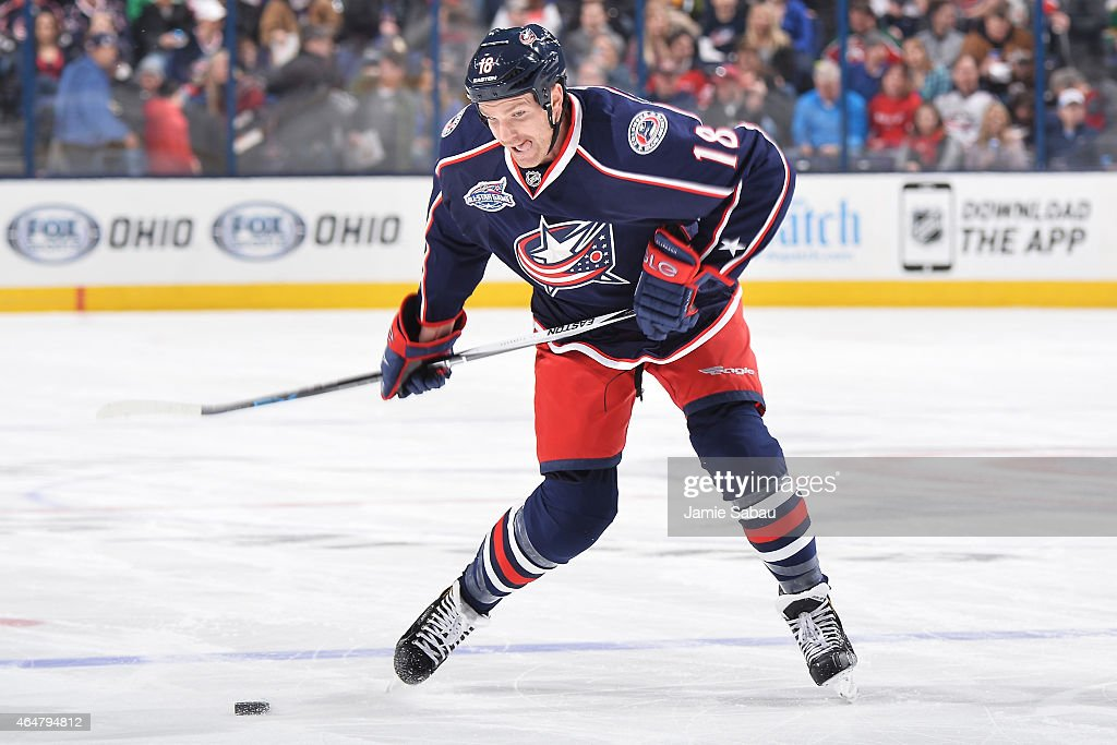 David Clarkson of the Columbus Blue Jackets takes a shot during the first period of a game against the New Jersey Devils on February 28 2015 at...