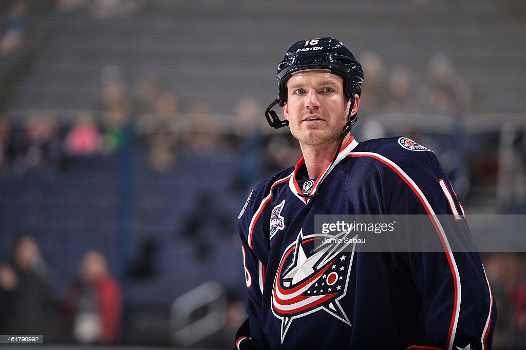 David Clarkson of the Columbus Blue Jackets warms up prior to a game against the New Jersey Devils on February 28 2015 at Nationwide Arena in...