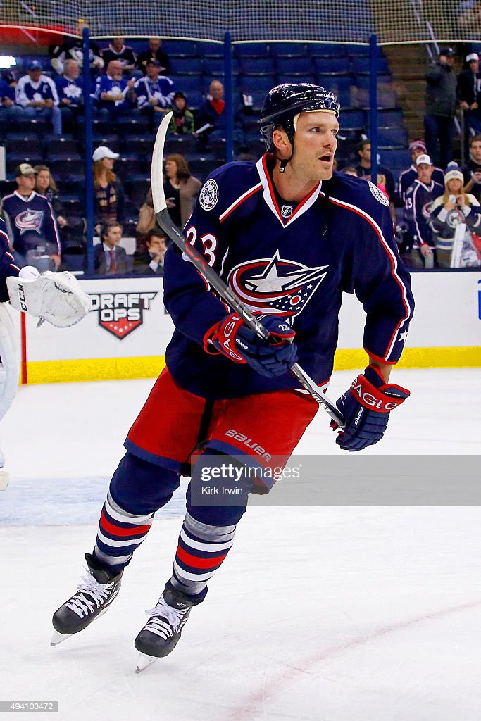 David Clarkson of the Columbus Blue Jackets warms up prior to the start of the game against the Toronto Maple Leafs on October 16 2015 at Nationwide...