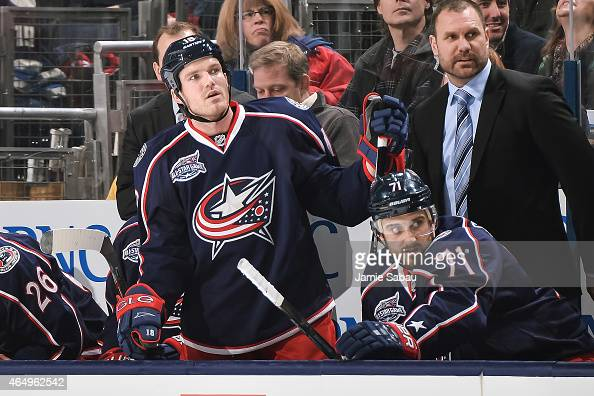 David Clarkson of the Columbus Blue Jackets watches his team play against the New Jersey Devils on February 28 2015 at Nationwide Arena in Columbus...