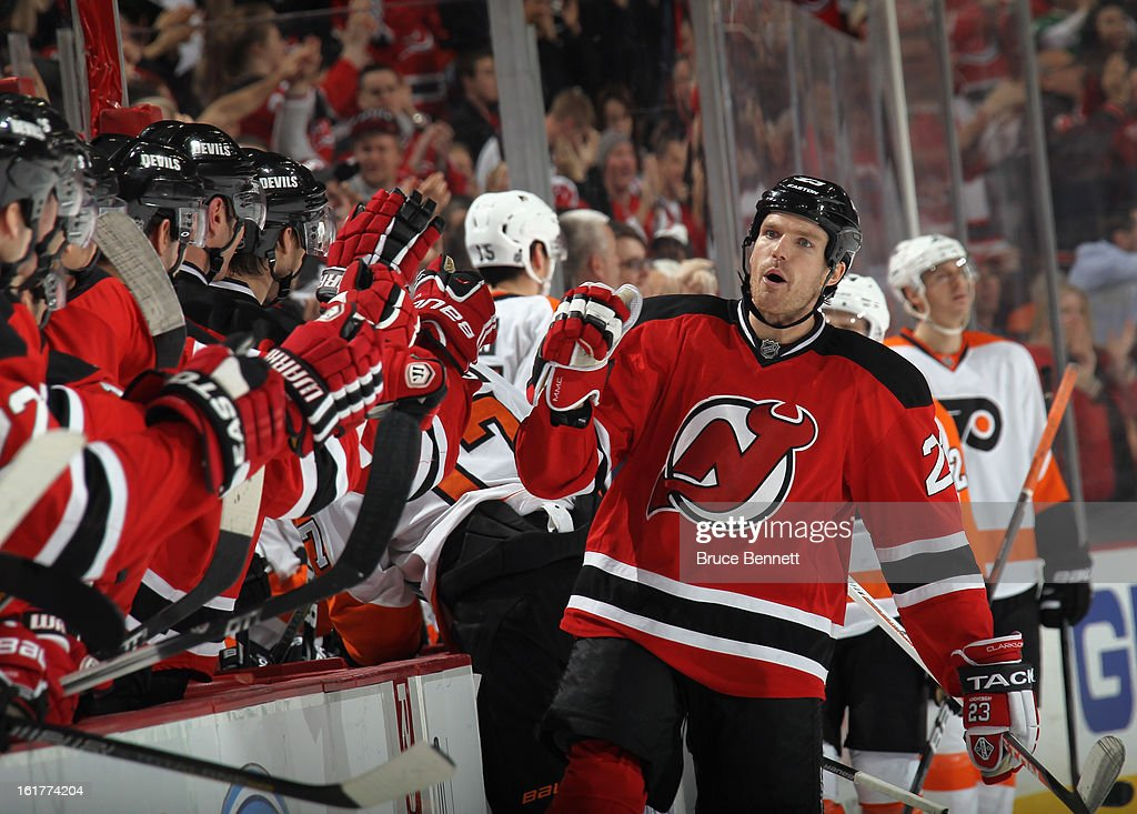 David Clarkson #23 of the New Jersey Devils celebrates his third period game winning goal against the Philadelphia Flyers at the Prudential Center on February 15, 2013 in Newark, New Jersey. The Devils defeated the Flyers 5-3.