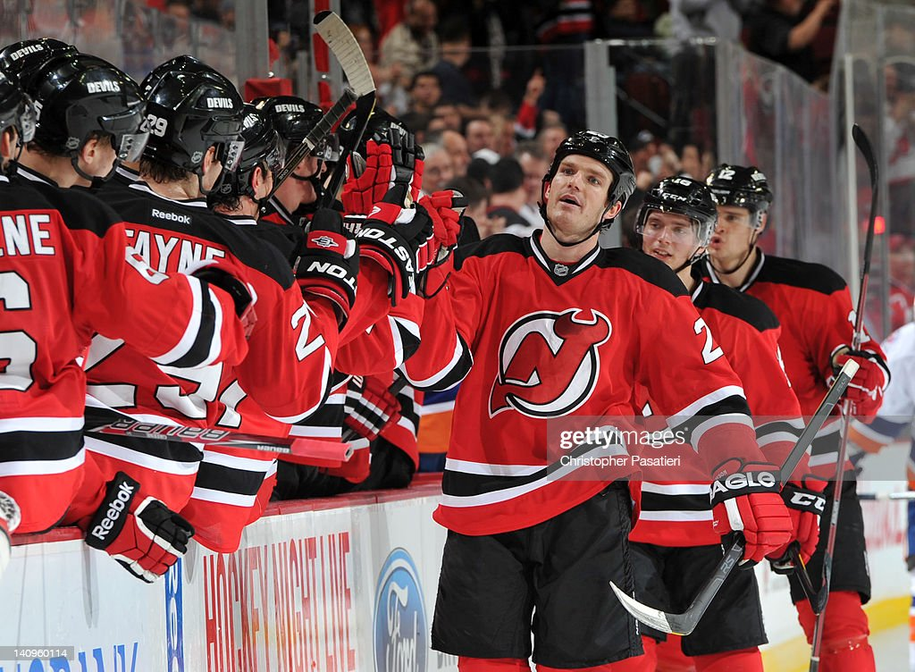 David Clarkson #23 of the New Jersey Devils celebrates scoring a goal during the third period against the New York Islanders on March 8, 2012 at the Prudential Center in Newark, New Jersey.