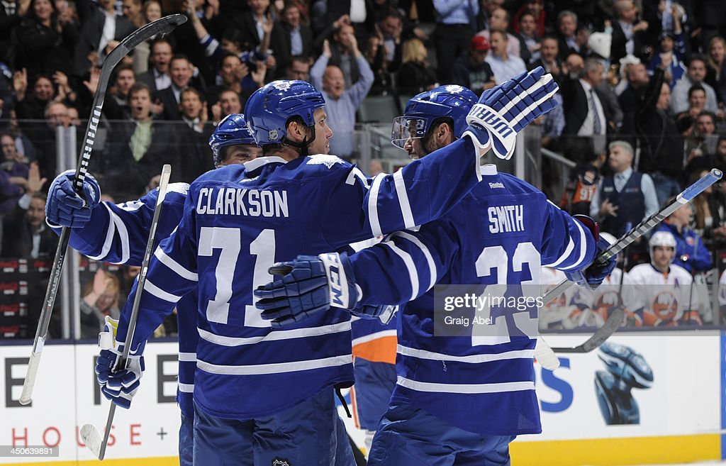 David Clarkson #71 of the Toronto Maple Leafs celebrates a third period goal during NHL game action against the New York Islanders November 19, 2013 at the Air Canada Centre in Toronto, Ontario, Canada.