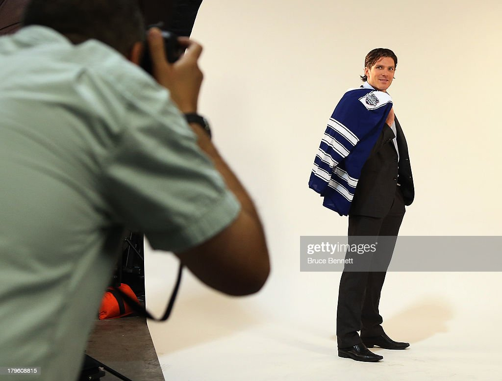David Clarkson of the Toronto Maple Leafs is photographed in a portrait session during the National Hockey League Player Media Tour at the Prudential Center on September 5, 2013 in Newark City.