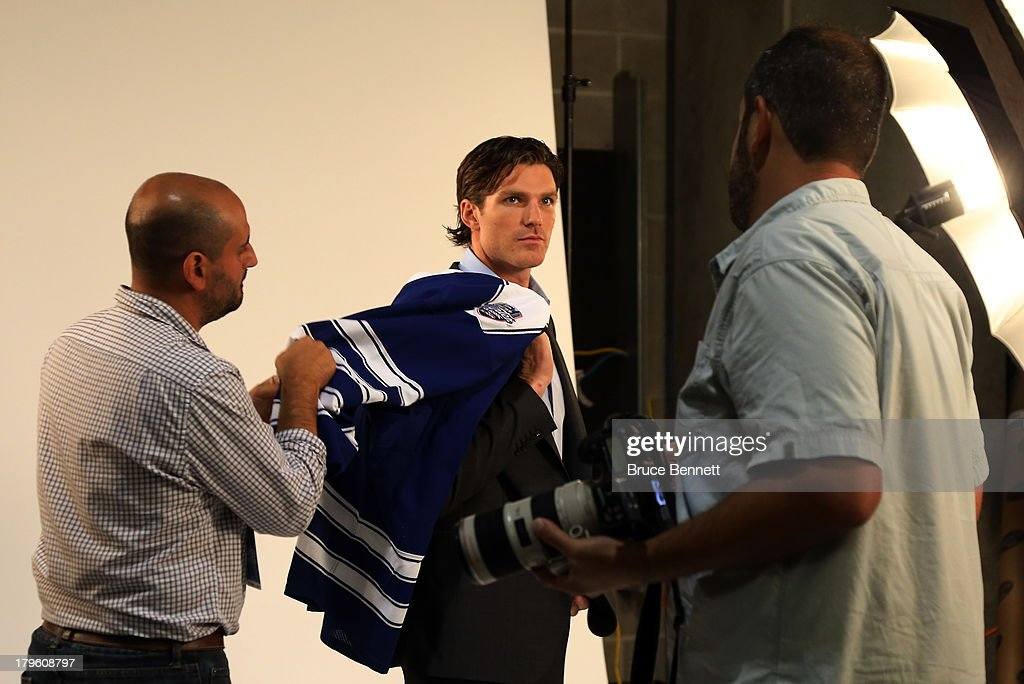 David Clarkson of the Toronto Maple Leafs is prepared for a portrait session during the National Hockey League Player Media Tour at the Prudential Center on September 5, 2013 in Newark City.