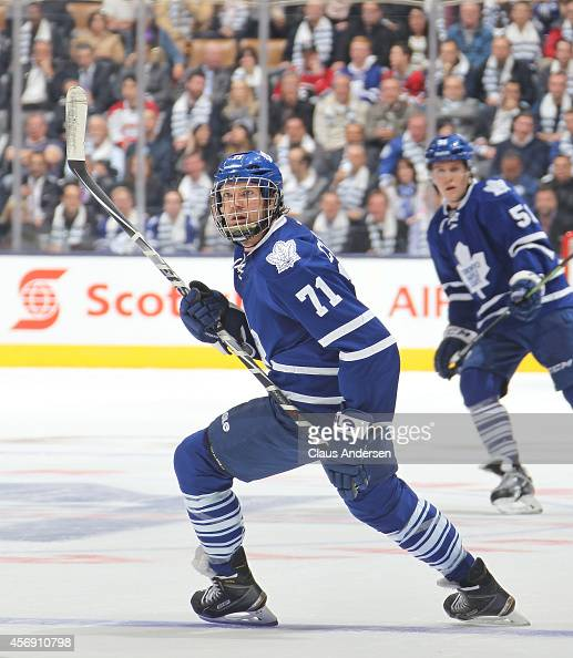 David Clarkson of the Toronto Maple Leafs skates against the Montreal Canadiens in the NHL season opener at the Air Canada Centre on October 8 2014...