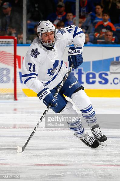 David Clarkson of the Toronto Maple Leafs skates against the New York Islanders at Nassau Veterans Memorial Coliseum on October 21 2014 in Uniondale...