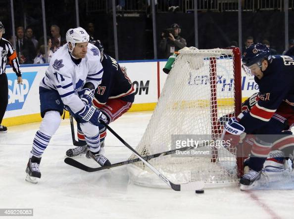 David Clarkson of the Toronto Maple Leafs skates against the New York Rangers at Madison Square Garden on December 23 2013 in New York CityThe...