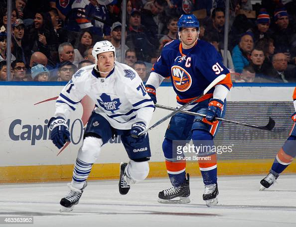 David Clarkson of the Toronto Maple Leafs skates against the New York Islanders at the Nassau Veterans Memorial Coliseum on February 12 2015 in...