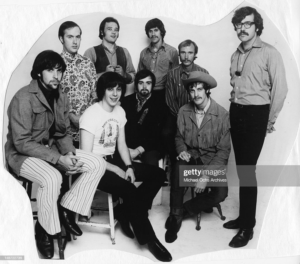 David Clayton-Thomas (3rd from left top), Fred Lipsuis (left), Steve Blake (2nd from left), Dick Halligan (3rd from right) and the rest of the rock and roll band 'Blood, Sweat And Tears' record in the studio in circa 1967.