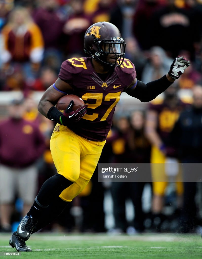 David Cobb #27 of the Minnesota Golden Gophers carries the football during the fourth quarter of the game against the Minnesota Golden Gophers on October 26, 2013 at TCF Bank Stadium in Minneapolis, Minnesota. The Golden Gophers defeated the Cornhuskers 34-23.