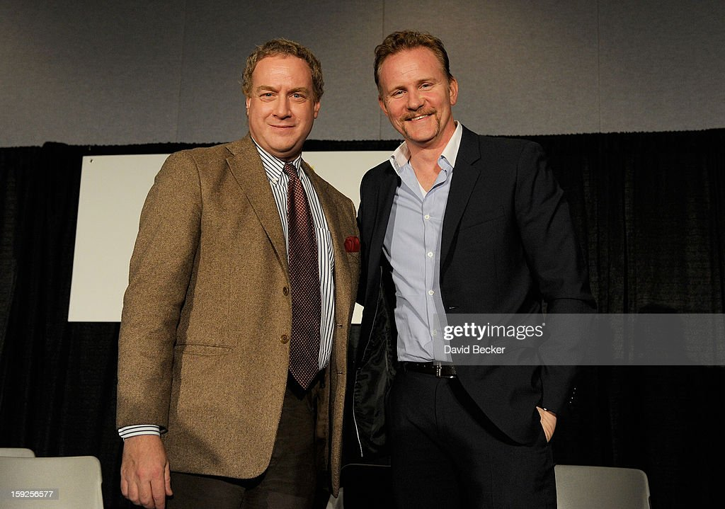 David Cohen, Associate Editor, Features, Variety and (R) <a gi-track='captionPersonalityLinkClicked' href=/galleries/search?phrase=Morgan+Spurlock&family=editorial&specificpeople=212719 ng-click='$event.stopPropagation()'>Morgan Spurlock</a>, Writer, Director, Producer appear onstage during Variety Entertainment Summit at The 2013 International CES at Las Vegas Convention Center on January 10, 2013 in Las Vegas, Nevada.