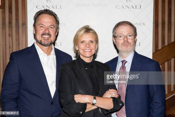 David Collins Deborah Foreman and Paolo Canali arrive at the David Jones Canali Launch at Restaurant Hubert on April 27 2017 in Sydney Australia