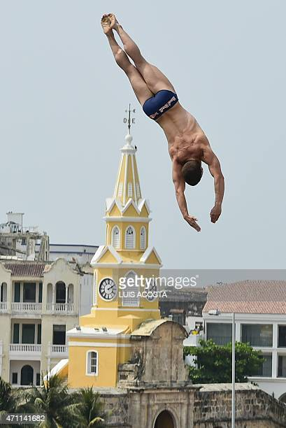 USA David Colturi jumps from the 27meterhigh platform during the Red Bull Cliff Diving World Series 2015 in Cartagena Bolivar department Colombia on...