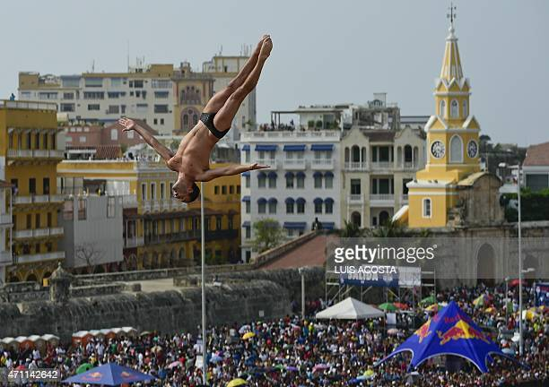 USA David Colturi jumps from the 27meterhigh platform during the Red Bull Cliff Diving World Series 2015 final in Cartagena Bolivar department...