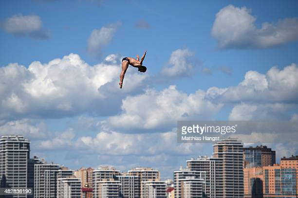 David Colturi of the United States competes in the Men's High Diving 27m preliminary round on day ten of the 16th FINA World Championships at the...
