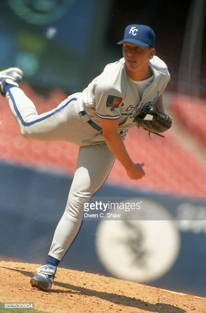 David Cone of the Kansas City Royals pitches against the California Angels at the Big A circa 1994 in Anaheim California
