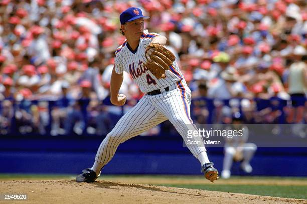 David Cone of the New York Mets winds back to pitch during a game in the 1990 season