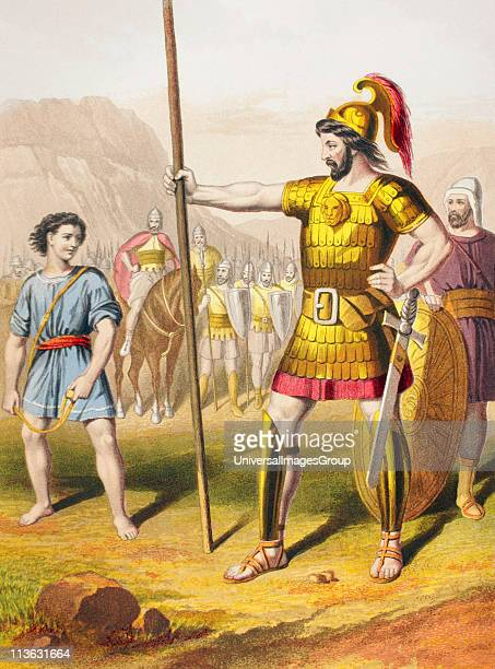 David confronts Goliath From The Holy Bible published by William Collins Sons Company in 1869 Chromolithograph by JM Kronheim Co