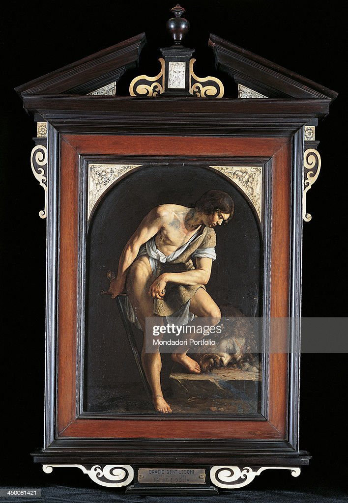 David Contemplating the Head of <a gi-track='captionPersonalityLinkClicked' href=/galleries/search?phrase=Goliath&family=editorial&specificpeople=78482 ng-click='$event.stopPropagation()'>Goliath</a> (Davide e Golia), by copy from Orazio Gentileschi, 1650, 17th Century, oil on blackboard, 32 x 22 cm.
