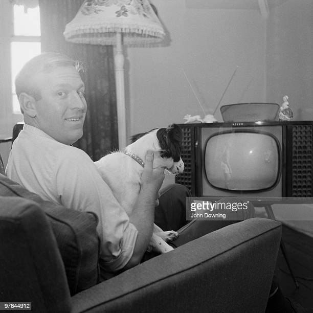 David Corbett and his dog Pickles watch the World Cup Final on TV 30th July 1966 Pickles became a hero earlier in the year when he found the stolen...