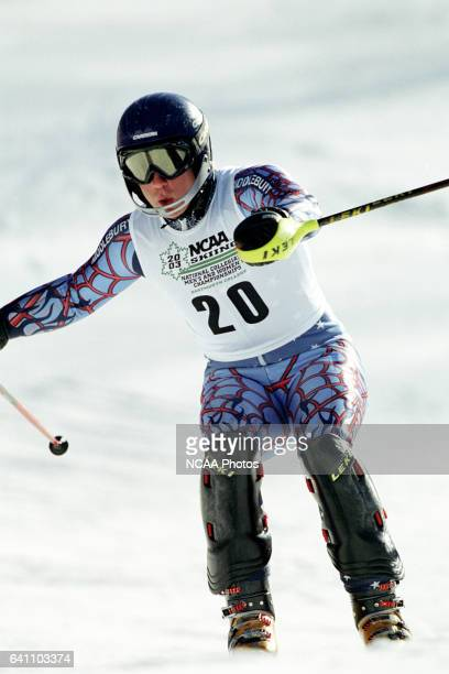 David Coriell of Middlebury College races to a 12th place finish in the men's slalom during the Division 1 Men's Skiing Championship held at the...