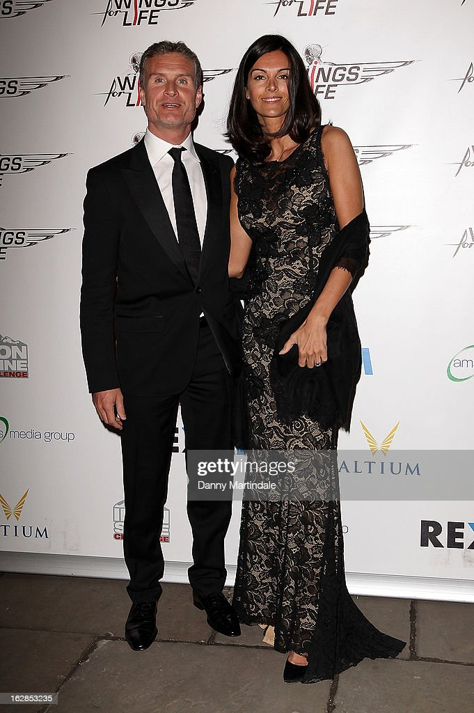 <a gi-track='captionPersonalityLinkClicked' href=/galleries/search?phrase=David+Coulthard&family=editorial&specificpeople=171316 ng-click='$event.stopPropagation()'>David Coulthard</a> and Karen Minier attend a dinner and ball hosted by The Cord Club in aid of Wings For Life at One Marylebone on February 28, 2013 in London, England.